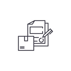 Signing logistics contract linear icon concept. Signing logistics contract line vector sign, symbol, illustration.