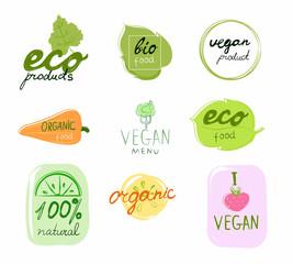 Set of vector logos of organic natural products
