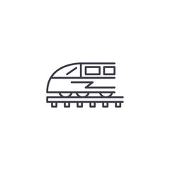 Train linear icon concept. Train line vector sign, symbol, illustration.