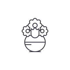 Vase with flowers linear icon concept. Vase with flowers line vector sign, symbol, illustration.