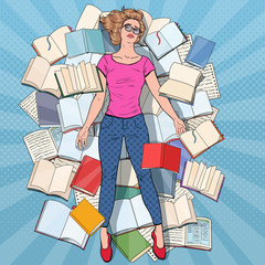 Pop Art Exhausted Student Lying on the Floor among Books. Overworked Young Woman Preparing for Exams. Education Concept. Vector illustration