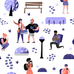 Seamless Pattern with Traveling People in Trip. Tourist with Gadget Taking Photo. Woman Making Selfie. Characters Walking on Tour. Vector illustration