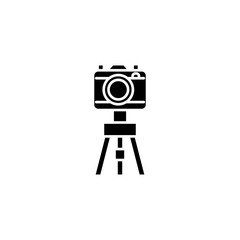 Camera with the tripod black icon concept. Camera with the tripod flat  vector symbol, sign, illustration.