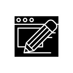 Constructing a website black icon concept. Constructing a website flat  vector symbol, sign, illustration.