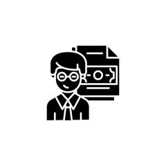 Corruption statistics black icon concept. Corruption statistics flat  vector symbol, sign, illustration.