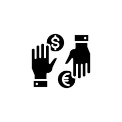 Currency exchange black icon concept. Currency exchange flat  vector symbol, sign, illustration.
