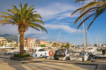 Mediterranean port. Montenegro, Tivat, view of yacht marina of Porto Montenegro