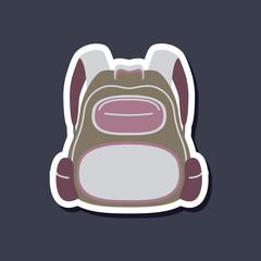 paper sticker on stylish background school bag