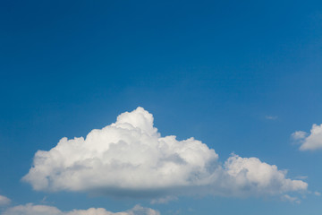 White cloud on deep blue sky background, ecology.