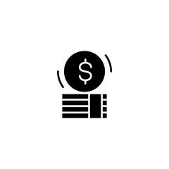 Money cash black icon concept. Money cash flat  vector symbol, sign, illustration.