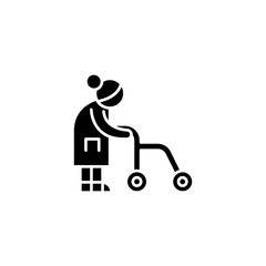 Old-aged woman black icon concept. Old-aged woman flat  vector symbol, sign, illustration.