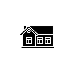 One-storey house black icon concept. One-storey house flat  vector symbol, sign, illustration.