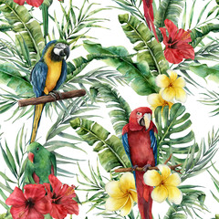 Watercolor tropical seamless pattern with tropical leaves and parrot. Hand painted flowers and palm branch on white background. Botanical illustration for design, print, fabric or background.