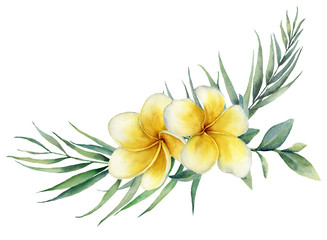 Watercolor floral tropical bouquet with plumeria and palm branch. Hand painted frangipani, eucalyptus isolated on white background. Illustration for design, print, fabric or background.
