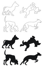 4 scalable and editable dog outlines and silhouettes