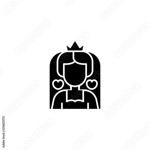 Queen Of Hearts Black Icon Concept Queen Of Hearts Flat Vector