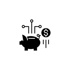 Savings black icon concept. Savings flat  vector symbol, sign, illustration.