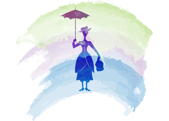 Silhouette girl floats with umbrella in his hand, watercolour style, vector isolated