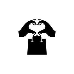 Shopping addiction black icon concept. Shopping addiction flat  vector symbol, sign, illustration.