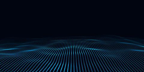 Big data. Futuristic technology blue background. Cyber technology. Technology background. Wave 3d.
