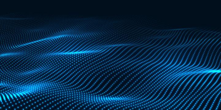 Digital technology wave. Futuristic blue vector illustration. Big data. Low poly shape dots.