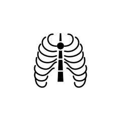 Thoracic cage black icon concept. Thoracic cage flat  vector symbol, sign, illustration.