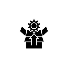 Unpacking black icon concept. Unpacking flat  vector symbol, sign, illustration.
