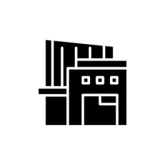 Warehouse complex black icon concept. Warehouse complex flat  vector symbol, sign, illustration.