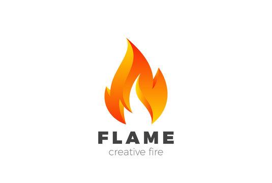 Fire Flame Logo design vector. Burning Inferno Energy Power icon