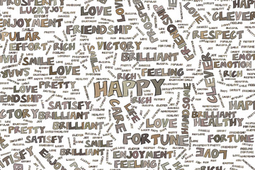 Happy, illustrations of positive emotion word cloud. Words, pattern, graphic & design.