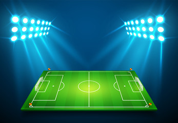 An illustration of Football soccer field with bright stadium lights shining on it. Vector EPS 10. Room for copy