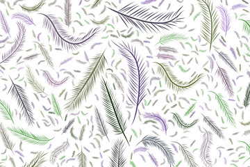Abstract illustrations of feather, conceptual. Creative, decoration, texture & cover.