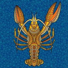 crayfish5/Decorative crayfish. Hand drawn vector illustration.