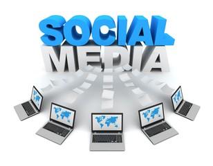 social media 3d concept illustration