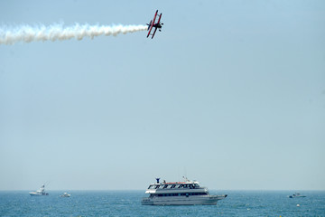 John Klatt, an aerobatic pilot, performs as part of a Memorial Day event on Long Island
