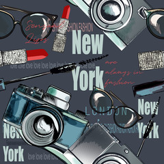 Fashion vector pattern with  lipstick, camera, glasses, words New York, London, Paris