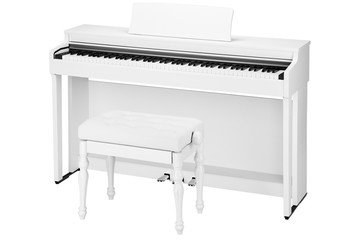 white piano and banquet isolated