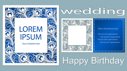 Text - Wedding, happy birthday. Wedding invitation. Greeting card with feathers. Envelope mock up for laser cutting. blue
