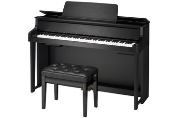 black piano and banquet isolated