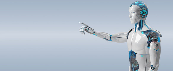White male cyborg pointing his finger 3D rendering