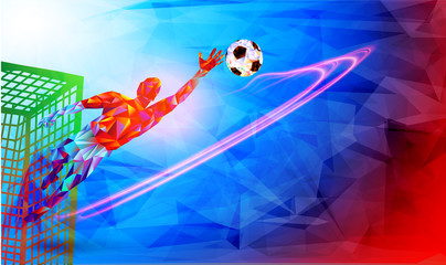 Goalkeeper player the background of the stadium FIFA world cup. Welcome to Russia. Football player in Russia 2018. Fool colour vector illustration