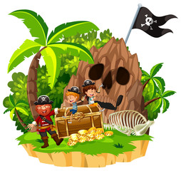 Pirate and Children on Island