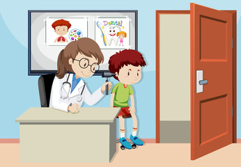 A Kids Checking Ear With Doctor