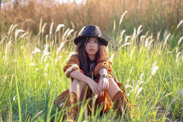 Woman with bohemian style.