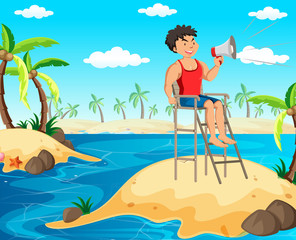 A Lifeguard Holding a Megaphone