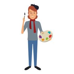 Male artist painter cartoon vector illustration graphic design
