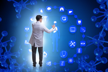 Telemedicine concept with doctor pressing virtual buttons