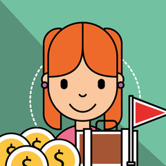 girl briefcase money currency analytics business vector illustration