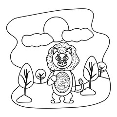 line funny lion cute animal in the landscape