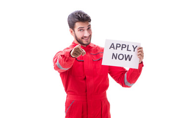 Man in coveralls with message isolated on white